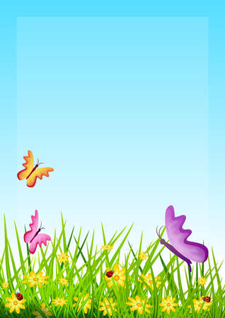 Floral background with herbs and small flowers, butterflies and ladybugs. Illustration. Ideal for illustrating or composing spring and field themes.
