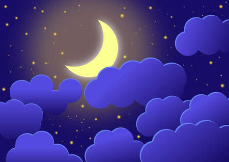 Wallpaper with night sky with crescent, clouds and stars. Illustration. Background. Banco de Imagens