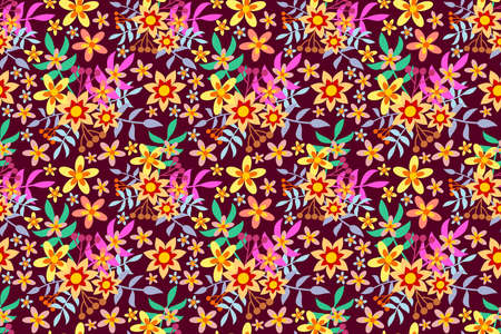 Background or wallpaper with repeated floral pattern and seamless. Illustration. Ideal for stamping of fabric or paper. Design. 스톡 콘텐츠