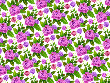 Background or wallpaper with repeated floral pattern and seamless. Illustration. Ideal for stamping of fabric or paper. Vintage design. 스톡 콘텐츠