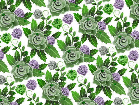 Background or wallpaper with repeated floral pattern and seamless. Illustration. Ideal for stamping of fabric or paper. Vintage design. Banco de Imagens