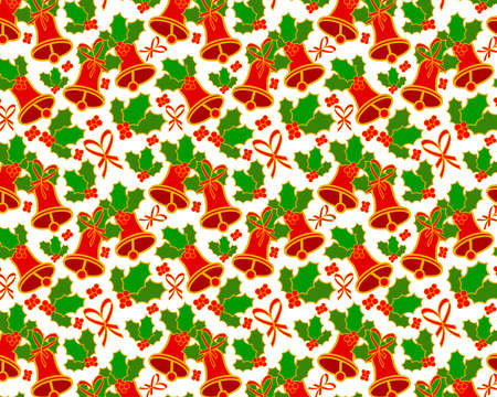 Background or wallpaper with seamless pattern with Christmas theme, with traditional elements like bells and holly branches. Illustration. Design. Banco de Imagens