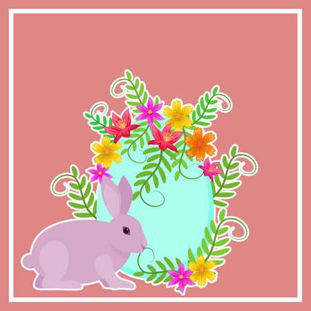 Postcard allusive to Easter, with symbolic elements such as bunny, egg and flowers. Illustration. Digital art. Banco de Imagens