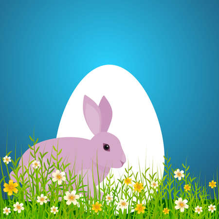 Postcard allusive to Easter, with symbolic elements such as bunny, egg and flowers. With free space to integrate dedication or personalized message. Illustration. Digital art. Stock Photo