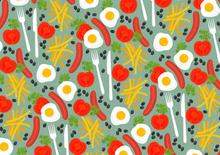 Background or wallpaper with seamless pattern with food elements such as eggs, sausage, tomato, parsley, potato chips and olives and still cutlery. Illustration.Design. Banco de Imagens