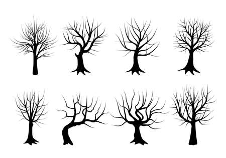 Set of silhouettes of trees in winter, stripped of their leaves. Vector illustration. Ideal for use in landscapes or themes about nature. Ilustração