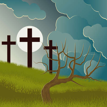 Costumed landscape of Calvary, with the symbolism of the crucifixion of Jesus. Illustration.