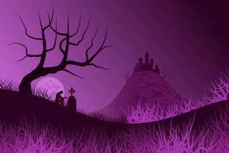 Night landscape with sky in heavy colors and full moon- In the background, the silhouette of a castle on a hill. In the foreground, also in silhouette, a tree without leaves and a person to pray next to a grave with tombstone. Illustration.