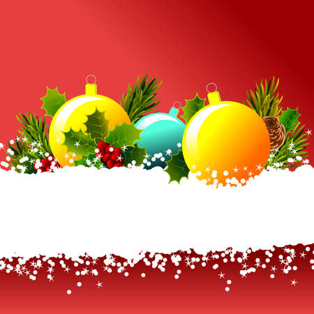 Christmas postcard with colored balls on snow and framed with pine and holly branches. Superior space suitable for the integration of a personalized message or dedication. Illustration.