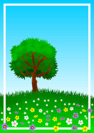 Background or wallpaper with the theme of a lone tree on green and flowery hill. Illustration.