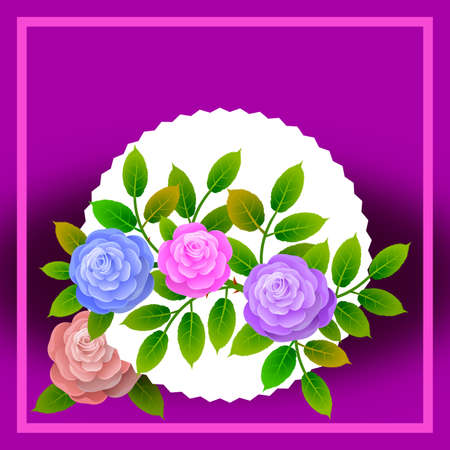 Floral frame with bouquet of roses. Ideal for integrating a personalized message or dedication allusive to various events or celebrations. Illustration.Design. Foto de archivo - 119925317