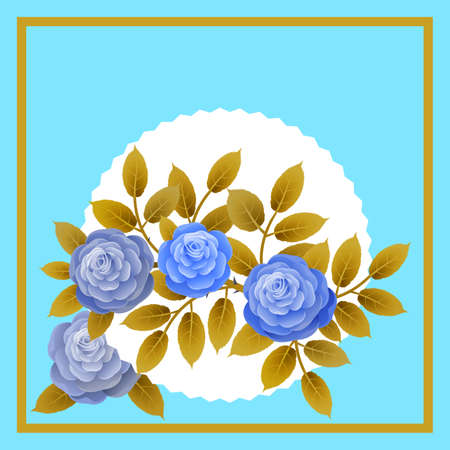 Floral frame with bouquet of roses. Ideal for integrating a personalized message or dedication allusive to various events or celebrations. Illustration.Design.