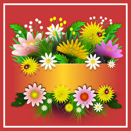 Floral frame with various flowers, branches and ladybugs. Central space for integrating personalized message or dedication to an event or date. Illustration. Digital art. Banco de Imagens