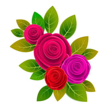 Floral frame with bouquet of roses isolated on withe background. Ideal for illustrating various media and projects such as greeting cards and invitations, and others.Illustration.Design.Digital art.