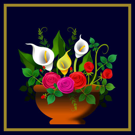 Floral frame with arrangement of roses and other flowers. Ideal for greeting cards or other media. Illustration. Digital art.