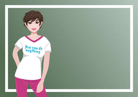 Background or wallpaper with girl dressed in tshirt with message You can do anything. Ideal for integrating a personalized message or text. Illustration.