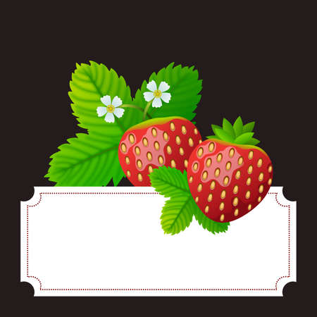 Floral frame with strawberries and their leaves and flowers. Ideal for illustrating cards or other media. Illustration. Digital art. Banco de Imagens