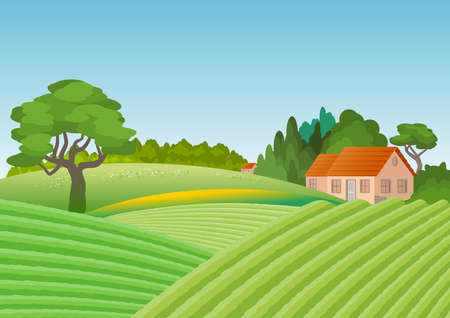 Country landscape with house surrounded by grove. In the foreground cultivated fields. Illustration.