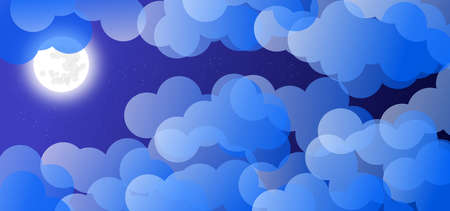 Wallpaper with night sky with full moon, clouds and stars. Illustration. Background. Banco de Imagens