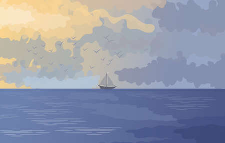 Natural landscape with sea and sky and a small sailing boat in the background. Illustration. Wallpaper or background.