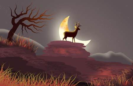 Natural landscape with night scene with the silhouette of a deer on the moonlight. Illustration. Wallpaper. Background. Banco de Imagens