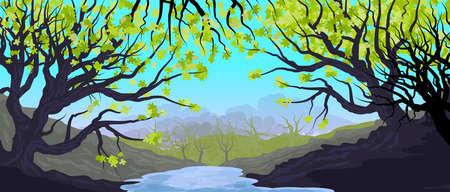 Natural landscape with grove and trees in the foreground. Dense forest. Illustration. Background. Wallpaper.