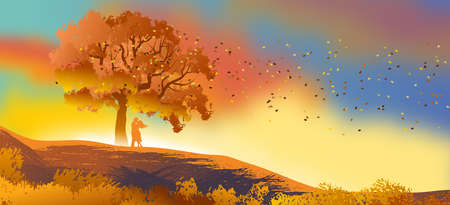 Background or wallpaper with natural landscape with a silhouette of a couple in love with a leafy tree with autumn dot. Illustration. Digital art. Banco de Imagens