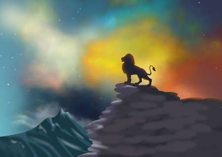 Background or wallpaper with scenic landscape with dramatic sky and lion silhouette on a cliff. Digital illustration. Banco de Imagens