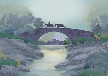 Background or wallpaper with landscape with river, stones and bridge and on it a knight. Illustration. Digital art.