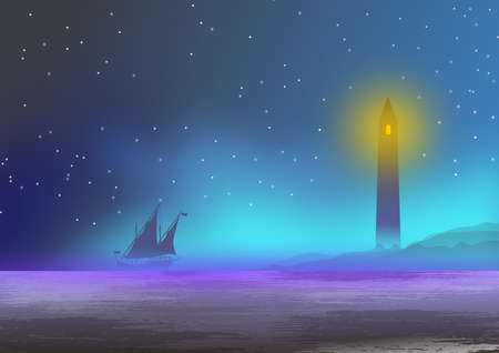 Wallpaper or background with sea landscape, with lighthouse, fog and Portuguese caravel in silhouette. Illustration. Digital art. Stock Photo
