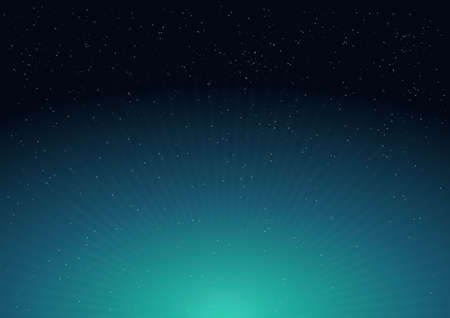 Background or wallpaper with night sky with emerald glow, populated by stars. Illustration. Digital art.