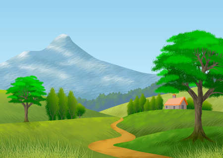 Nature landscape with mountain, trees, hills, a path and a cottage. Wallpaper. Background. Illustration. Digital art.