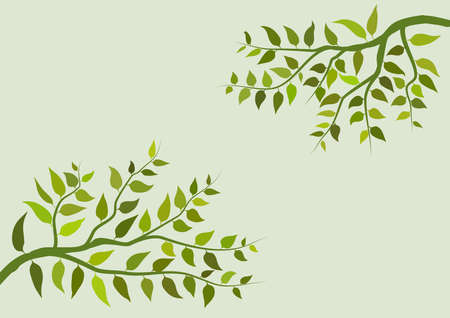 Illustration on background or wallpaper with tree branches with their leaves. Ideal for integrating text or dedication. Digital art.