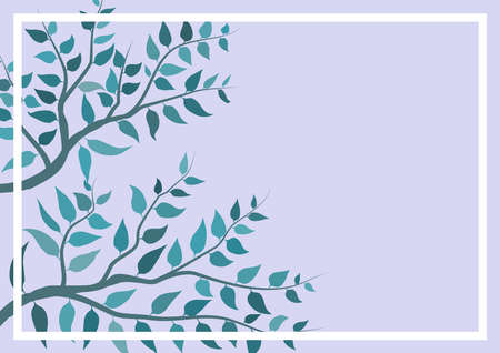 Illustration on background or wallpaper with tree branches with their leaves. Ideal for integrating text or dedication. Digital art. Foto de archivo - 125791931