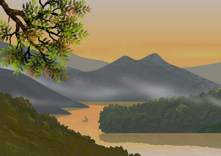 Background or wallpaper with natural landscape, with mountains, hills, trees, a river of calm waters and a small fishing boat. Illustration. Digital art.