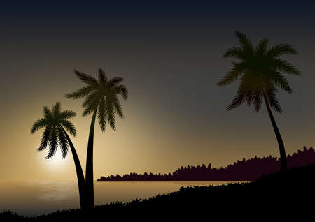 Background or wallpaper with landscape in the sun. Palm trees in silhouette and sea with calm water and reflections. Illustration with digital technique.