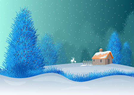 Illustration with background allusive to the theme of christmas. Characteristic winter landscape with snowing sky, trees and deer in silhouette. Illustration in digital art. Reklamní fotografie