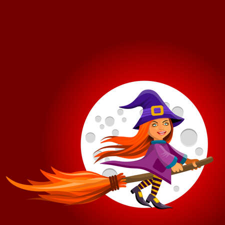Illustration frame with a funny witch flying on a broomstick in moonlit night.