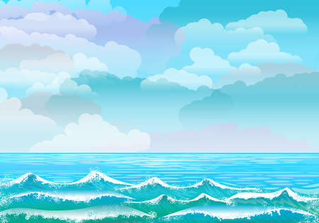 Background with sea landscape cloudy sky blue sky and sea with waves in the foreground. Cloudy sky. Digital art. Stockfoto
