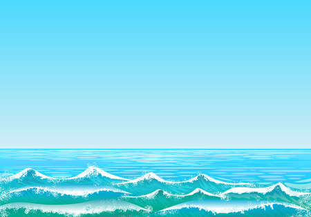 Background with sea landscape with clear blue sky and sea with waves in the foreground. Digital art. Stockfoto