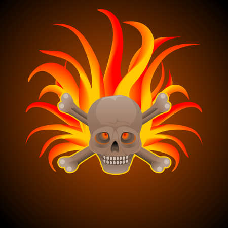 Background with skull surrounded by flames. Ideal for integrating a custom message or text. Illustration in digital art.