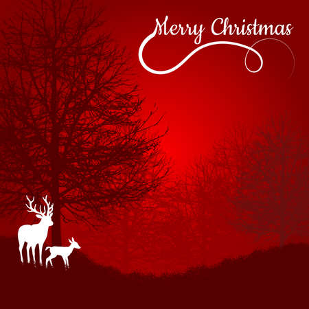 Postcard with Christmas theme. Minimalist style with silhouettes of foliage-free trees and white deer. Red background. Digital art.