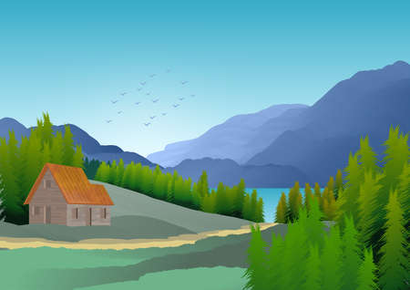 Background with illustration of natural landscape with mountains, hills, trees and lake. Stock fotó - 135502889