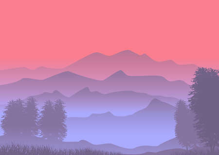 Natural landscape background in dusk and foggy environment. Illustration.