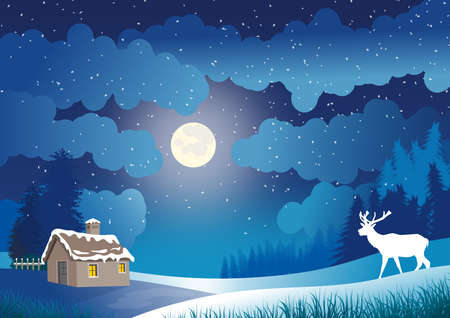 Illustration with christmas background. Sky with moonlight and level and snowing. Small country house with snow roof.