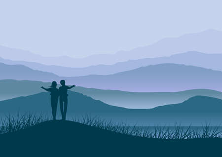 Background with natural landscape with mountains in fog and in the foreground, in silhouette, a couple. Ilustration in digital art. Banco de Imagens
