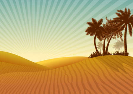 Illustration with natural landscape background with desert, dunes and palm trees silhouettes.