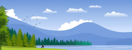 Background with natural landscape with mountains, coniferous woods, lake and deer in silhouette. Illustration.