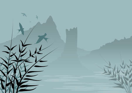 Background with natural landscape with mountains in fog and in the foreground, silhouettes, branches of plants and swallows birds.
