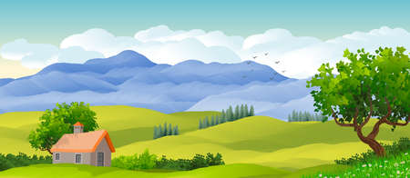 Natural landscape background with sky with clouds, mountains, hills and in the foreground a small house and trees. Illustration. Banco de Imagens